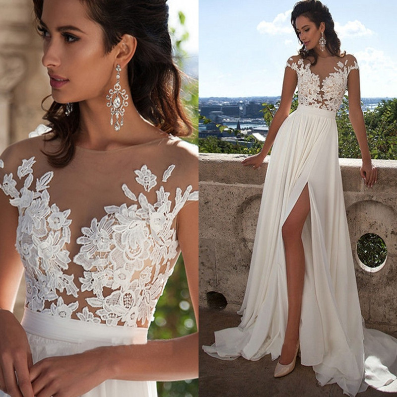 Sexy chiffon lace appliques bridal gowns country western for Plus size country western wedding dresses