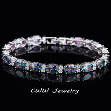 CWWZircons Luxury Design Multicolor Oval Rainbow Mystic Crystal Women Fancy Bracelet With Cubic Zirconia Stones CB149