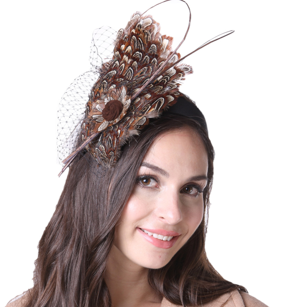 Free Shipping Women Fascinator Hats Party cocktail Feather Fascinator Hair Accessories  With Headband Coat Matching free shipping high quality 2015 mini disc flower sinamay fascinator with feather for race
