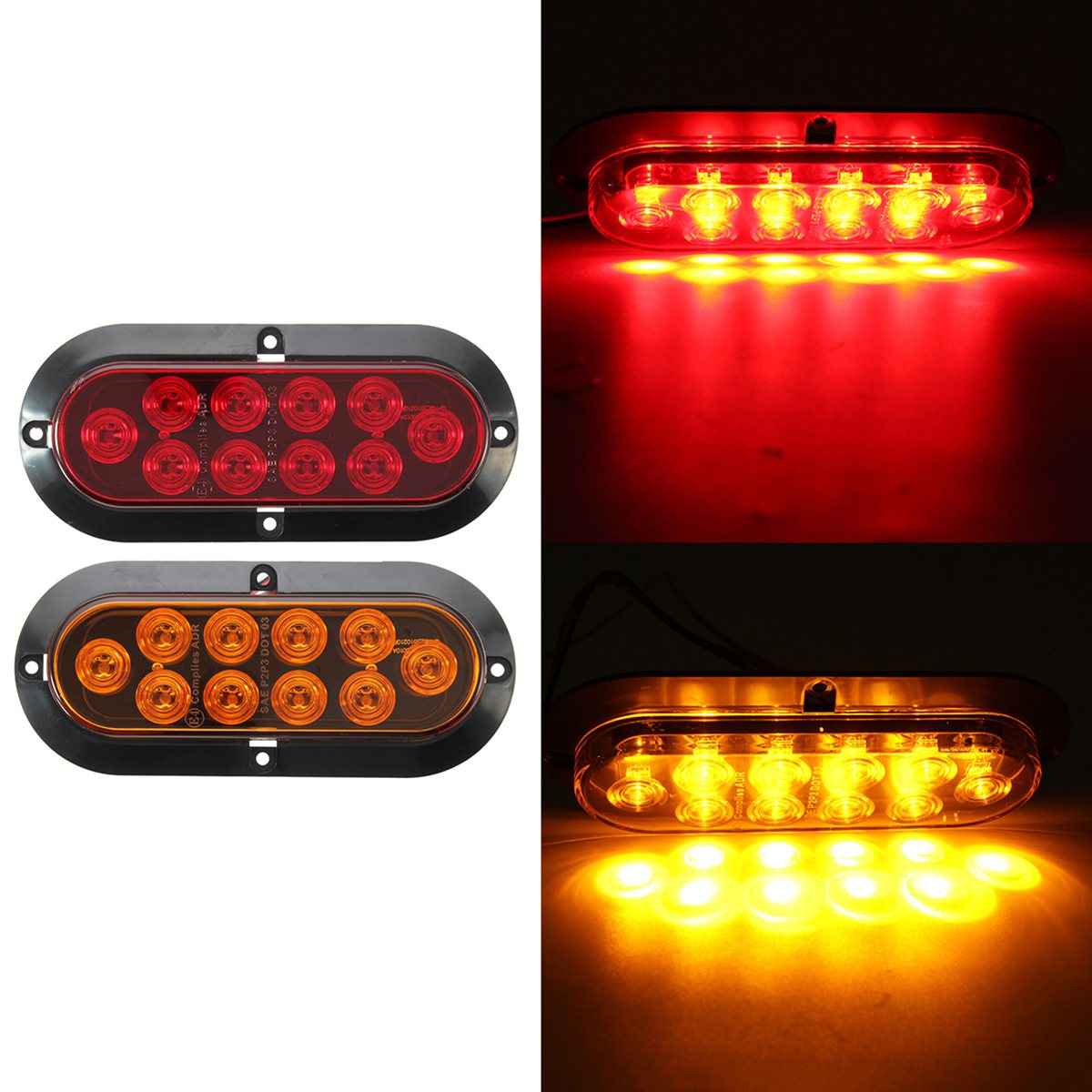 10 LED 6 Truck Trailer Oval Amber Red Surface Mount Turn Signal Stop Tail Light 2pcs 20 led car truck red amber white led trailer waterproof tail lights turn signal brake light stop rear lamp dc 12v cy798 cn