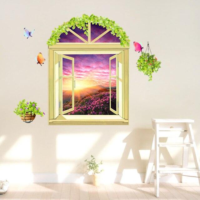 SHIJUEHEZI] Fake Window Flowers Scenery 3D Wall Stickers PVC ...