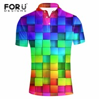 FORUDESIGNS Men Polo Shirts Plaid Stitching Short Sleeved Cool Mercerized Collar Slim Fit Casual Business Breathable