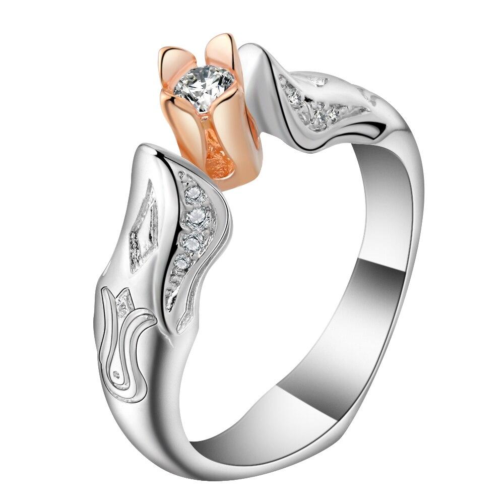 Романтический леди обручальное кольцо изделия из розового золота Цвет цветок тюльпана кольца для Для женщин вечерние аксессуары Новая мод...