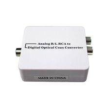 High Quality Analog L/R To Digital SPDIF Coaxial Coax RCA&Optical Toslink Audio Converter Analog To Digital Adapter FreeShipping