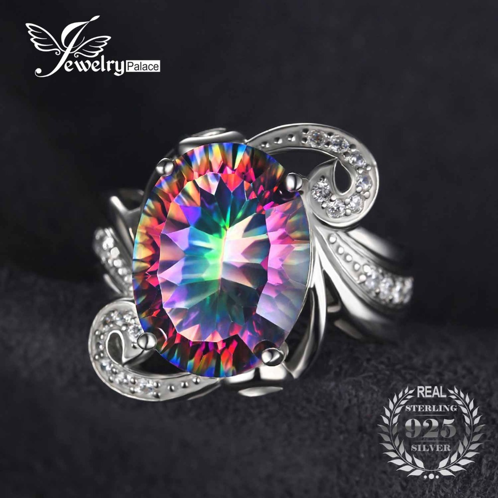 Luxury Cocktail Ring ct Genuine Gem Stone Rainbow Fire Mystic Topaz Ring