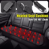 Black Universal 12V Car Rear Back Seat Heated Cushion Auto Electric Heating Seat Cover Winter Warmer