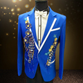 2016 men blazer suit jacket outwear male clothes white blue red for singer performance groom dress show party Christmas bar