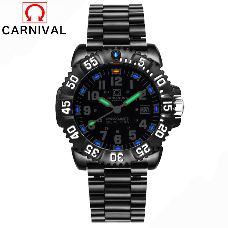 Carnival Brand Submariner Series Waterproof Shockproof Luxury Sport Men Watches Tritium Luminous Military 200M Diving Watch