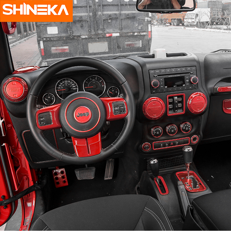 SHINEKA Interior Accessories for Jeep Wrangler JK 2011-2017 Car Steering Wheel Cover Frame Air Vent Outlet Cover for Wrangler