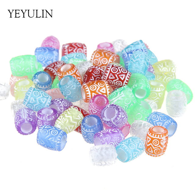 100pcs 8mm Colorful Acrylic Cylinde Pattern Spacer Beads Charms Women Men DIY Bracelet Necklace Jewelry Making Big Hole Beads