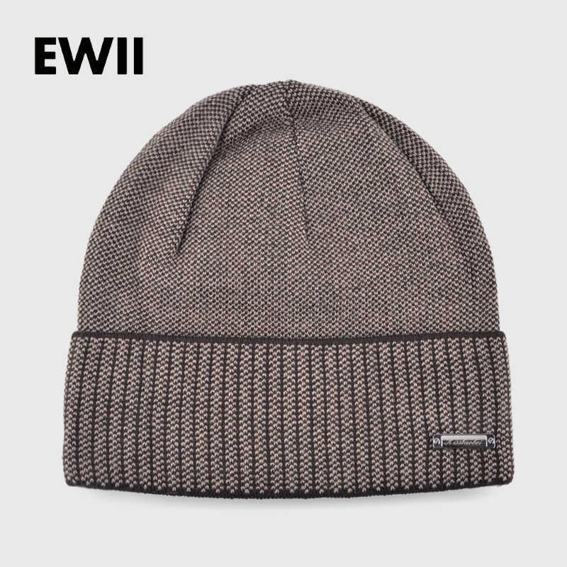 00dfa4435ed0 Knitted winter hats for men beanies solid color striped cap skullies mem  beanie wool hat gorro