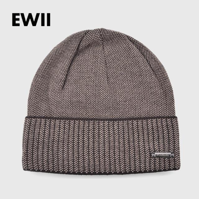 a50caf8e455ab Knitted winter hats for men beanies solid color striped cap skullies mem beanie  wool hat gorro boy casual bonnet warm caps bone