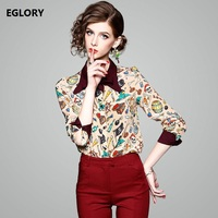 Basic Shirts Women S Blouse And Tops 2018 Spring Turn Down Collar Fashion Costumes Print Long