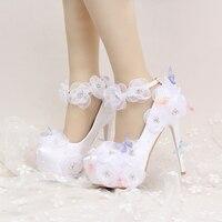 Satin Hochzeit Schuhe Schöne Blume und Schmetterling Braut Partei High Heels mit Ankle Straps Prom Pumps Weiß und Rot Farbe