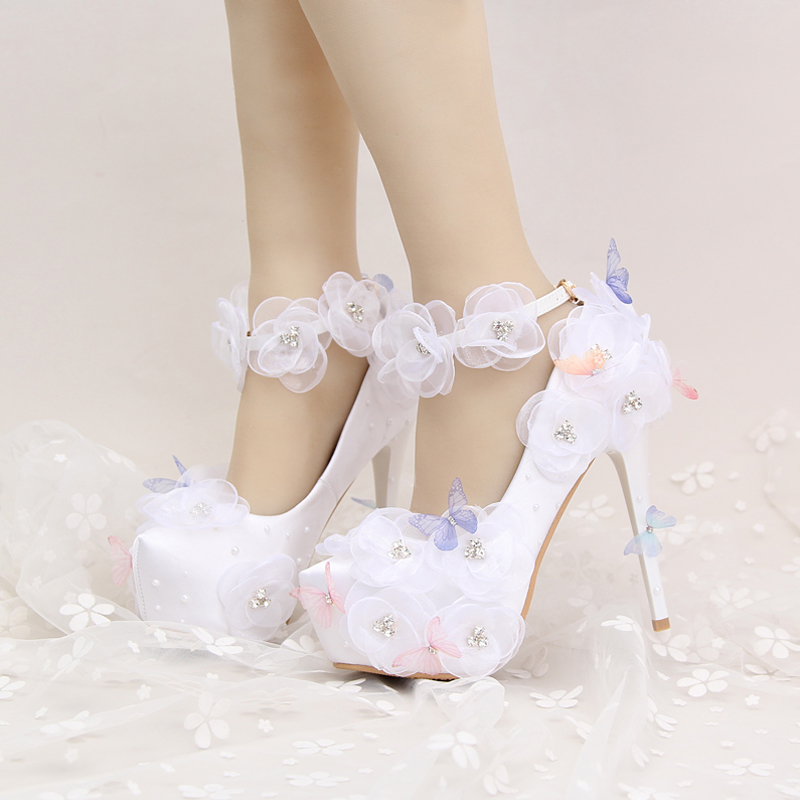 Satin Wedding Shoes Beautiful Flower and Butterfly Bride Party High Heels with Ankle Straps Prom Pumps White and Red Color the new 2017 white satin high with the bride shoes waterproof slipper wedding shoes picture taken single shoes for women s shoes