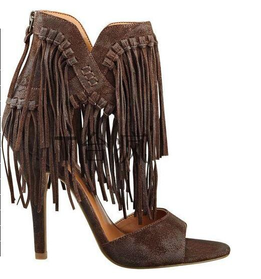 new arrival fashion brown tassel high heel women sandals open toe suede party dress shoes woman size 34 to 42 knot frienge new arrival brown suede leather high