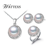 CYTHERIA 100 Natural Pearl Set Jewelry Sets 925 Silver Pearl Pendant Necklace And Earrings For Women