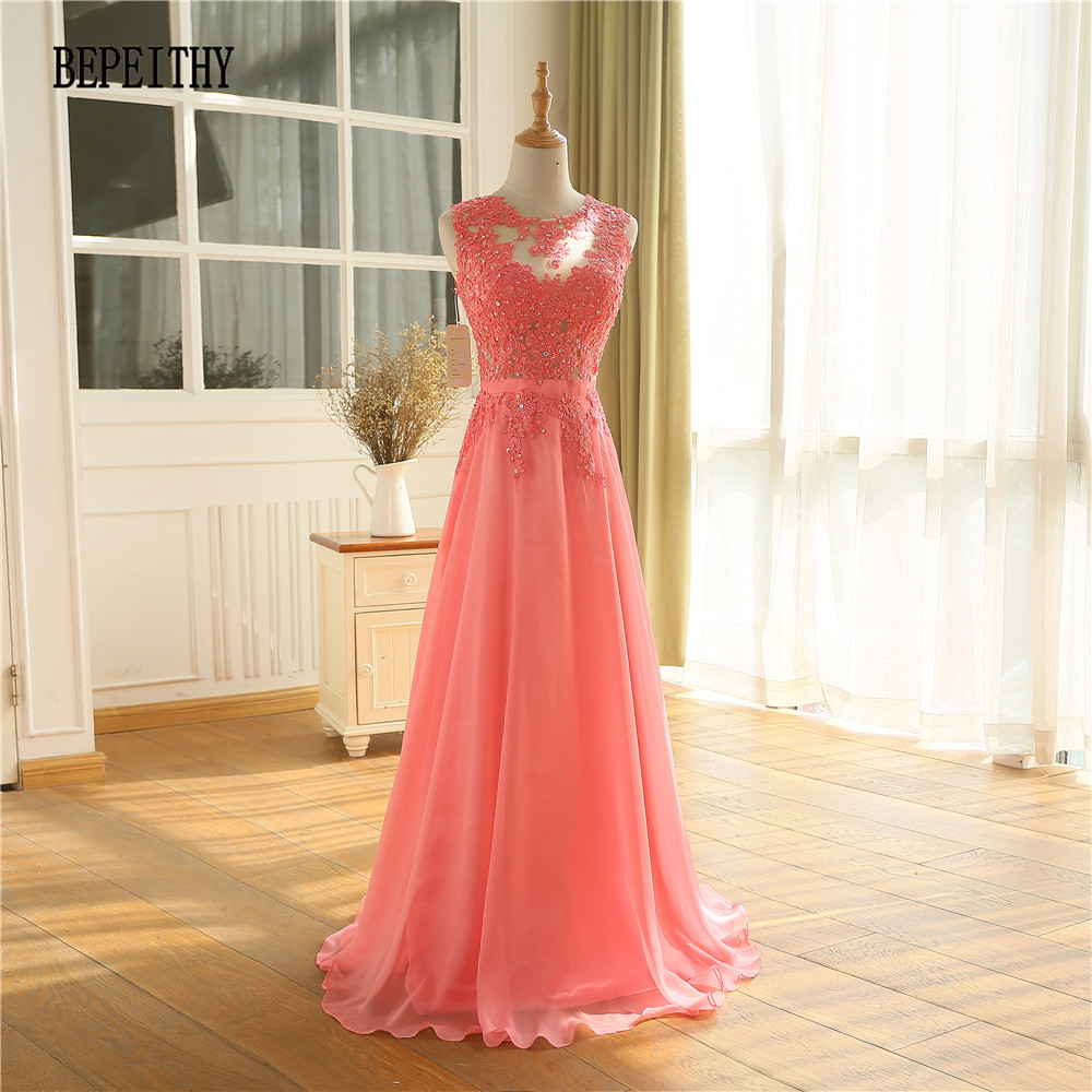 BEPEITHY Vestido Longo Watermelon Chiffon Long Evening Dress 2019 New Arrival Prom Dress Robe De Soiree Longue Party Gowns