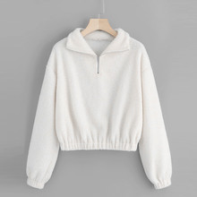 turndown collar women sweatshirt casual quarter zip elastic hem teddy sweatshirt top blouse 2019 autumn long sleeve white #Ger
