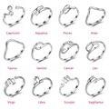 Venda mulheres anillos anel na moda 2017 nova prata esterlina 925 signos do zodíaco anéis abertos constelação menina anillo moda jóias