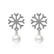 Женские серьги гвоздики из серебра 100% пробы с жемчугом и кристаллами