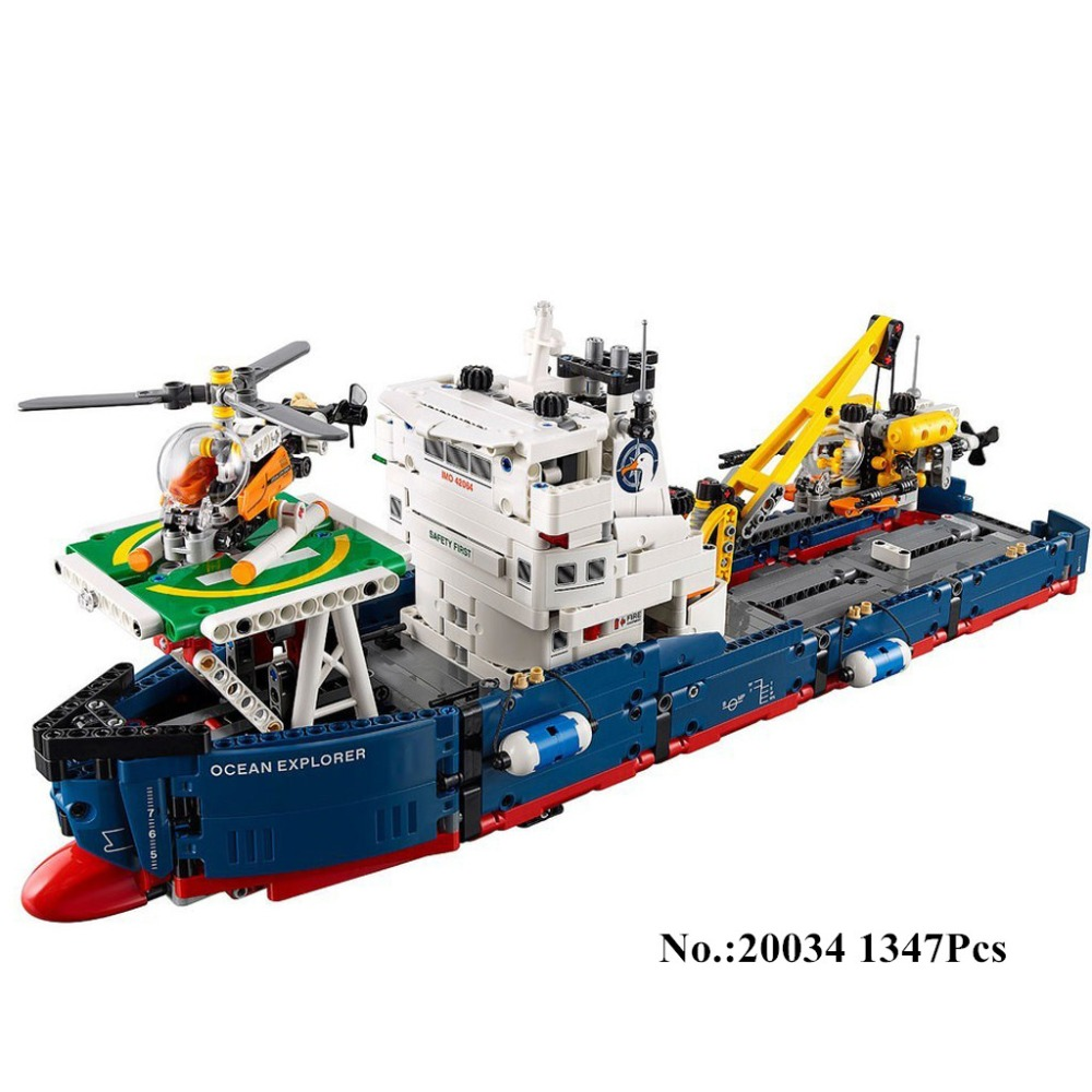 IN STOCK H&HXY 20034 1347pcs Genuine New Technic Series The Searching Ship Set Building Blocks Bricks lepin Toys 42064 8 in 1 military ship building blocks toys for boys