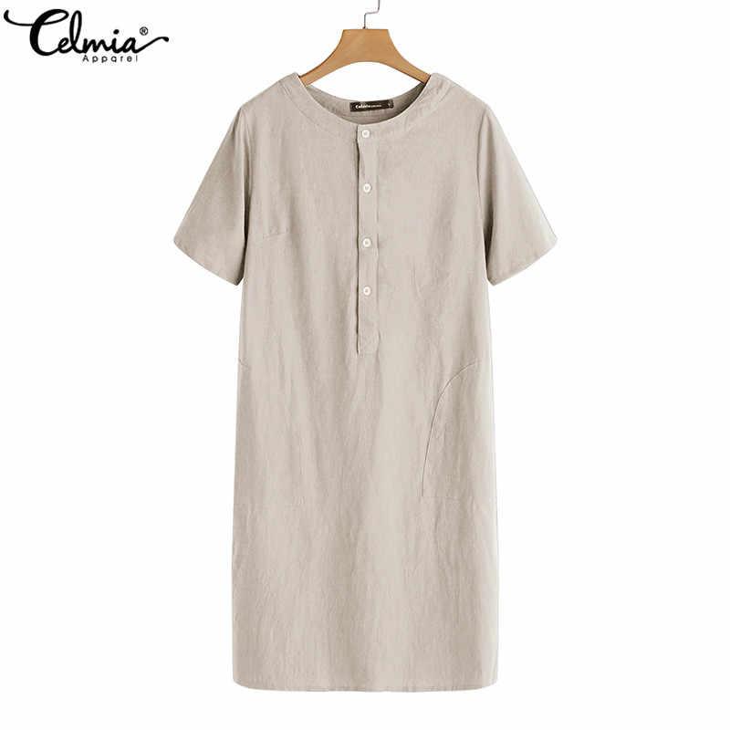 01f8124fd4b7 Celmia mujeres Vintage vestido de lino 2019 camisa de verano vestido damas  de manga corta sólido suelto Casual Sexy Mini Vestidos Plus tamaño