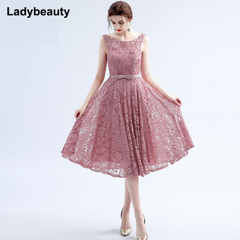 e089ea2007aab Dusty Pink Vintage Lace Tea Length Short Prom Dresses Jewel Neck Cap  Sleeves Beaded Corset Back Teens Cocktail Prom Party Dress