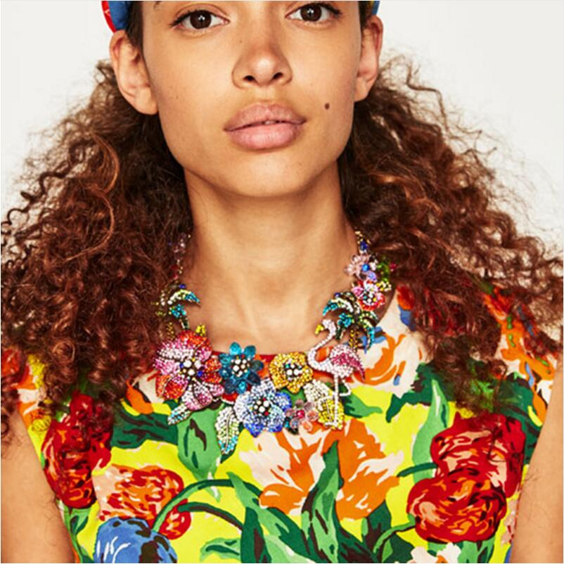 Image 3 - PPG&PGG New Za Design Multicolor Crystal Beads Flower Necklaces Rhinestone Statement Choker Necklace Bird Sharp Jewelry-in Choker Necklaces from Jewelry & Accessories