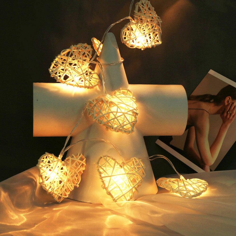 Battery Powered Fairy Christmas Led String Light 10leds Rattan Heart Home Decoration For Xmas,valentine's Day,wedding,birthday Fine Craftsmanship
