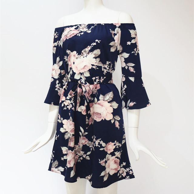 Women Dress 2019 Summer Sexy Off Shoulder Floral Print Chiffon Dress Boho Style Short Party Beach Dresses Vestidos de fiesta