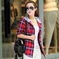 Chegada New Hot 2016 Mulheres Moletom Com Capuz Casual Fit Blusa Plus Size Camisola do Outono do Algodão de Manga Comprida Camisa Xadrez xadrez Vermelho