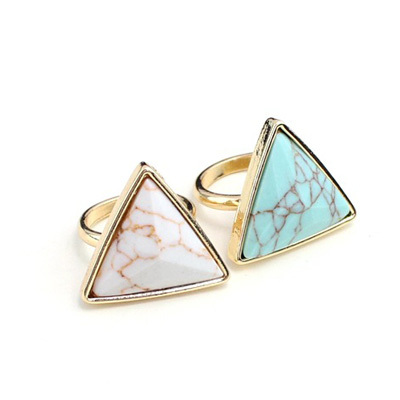 New Fashion Gold Color White Green Turquoise Stone Geometric Triangle Rings For Women Trendy Brand Rings  Jewelry bijoux