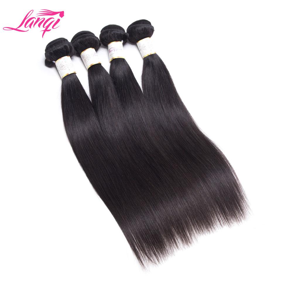 LanQi Straight Hair Human Hair Bundles 4Pcs Lot Deals Brazilian Hair Weave Bundles Natural Color Non
