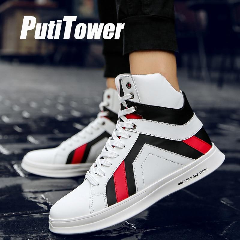 High Top Plate-Forme Sneakers Hommes De Mode Plat chaussures décontractées Haute Style PU chaussures de toile Tendance Hommes Vulcaniser Chaussures Chaussure Homme