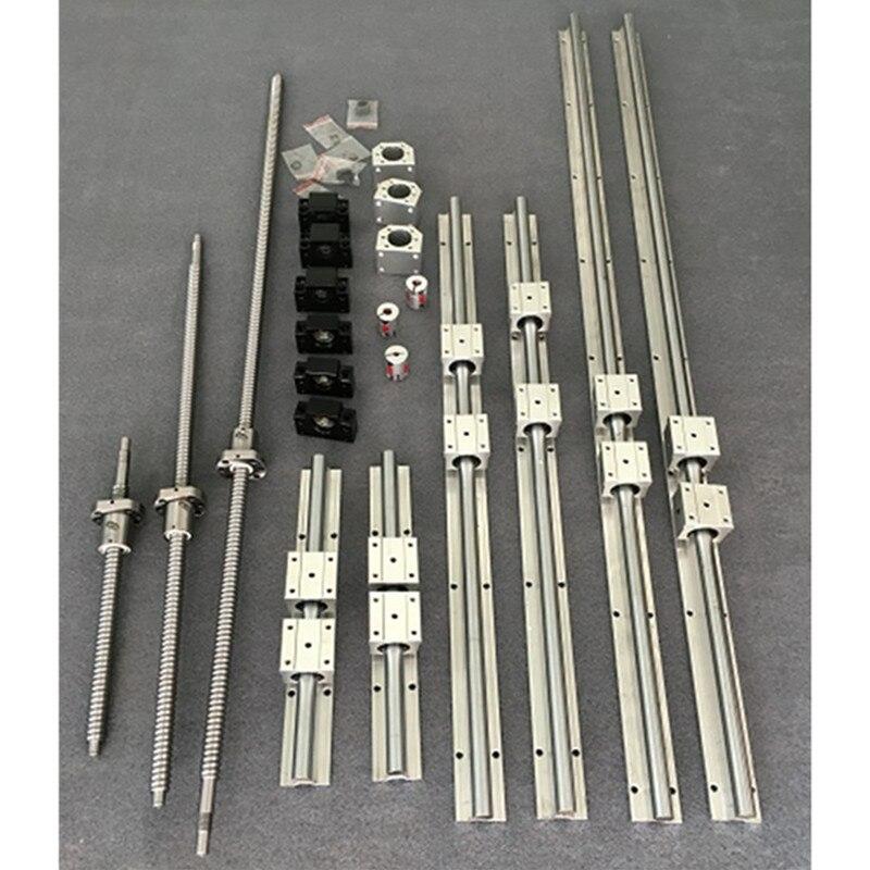6 set 16mm SBR16 Rail de guidage linéaire + SBR16UU + 3 vis à billes SFU/RM1605 + BK/BF12 + boîtier écrou + coupleurs pour routeur/fraiseuse CNC