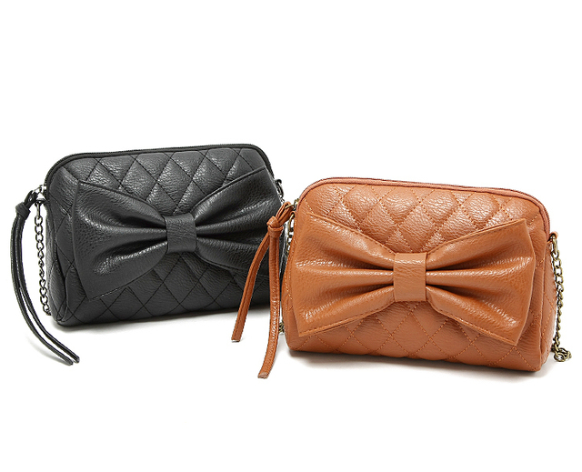Quilted Bow PU Leather Handbag,Clutch,Shoulder Bag,Cross Body,Messenger bag,Free Shpping