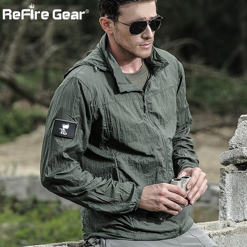 Tactical Lightweight Waterproof Jacket Men Summer Breathable Thin Hoody Raincoat Military Portable Windbreaker Army Skin Jackets