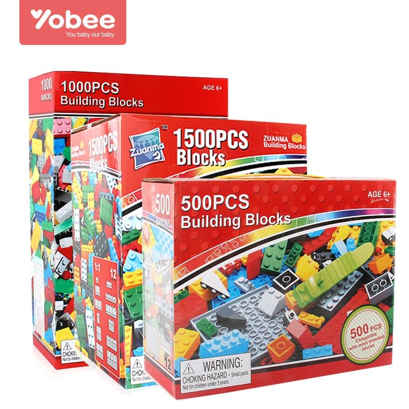 Yobee 500 1000 1500pcs DIY Building Blocks Bricks Designer Creative Classic Brick Educational Toys Bulk For Children Gift