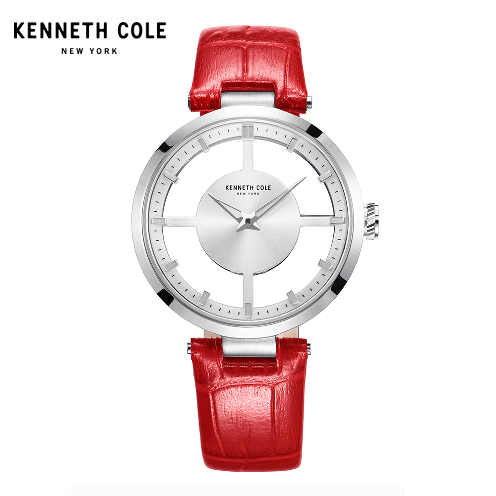 Kennetch Cole Womens Watches KC2609R See-through Red Quartz Leather Waterproof Simple Women Watches цена и фото