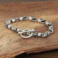 S925 Мужская мода оптом серебряные украшения ручной работы старинные серебряные труба череп браслет личности
