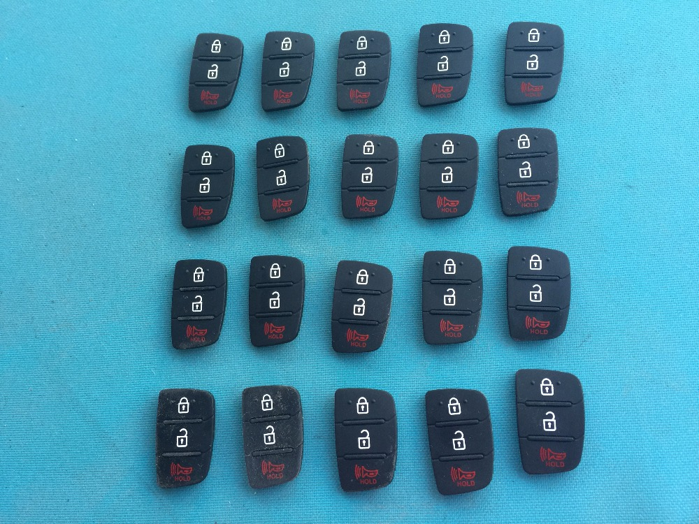 ZABEUDEIR 100 pcs/lot Replacement rubber key button pad For Hyundai 3 button remote key shell For KIA remote key blank no logo-in Car Key from Automobiles & Motorcycles    1