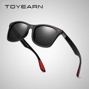 TOYEARN الكلاسيكية مربع الاستقطاب النظارات الشمسية الرجال النساء العلامة التجارية مصمم خمر القيادة حملق برشام مرآة الذكور نظارات شمسية UV400