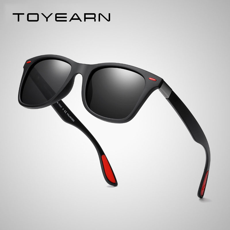 Men Square Polarized Sunglasses Driving Outdoor Sports Ultra-light Series UV400 Protection Black