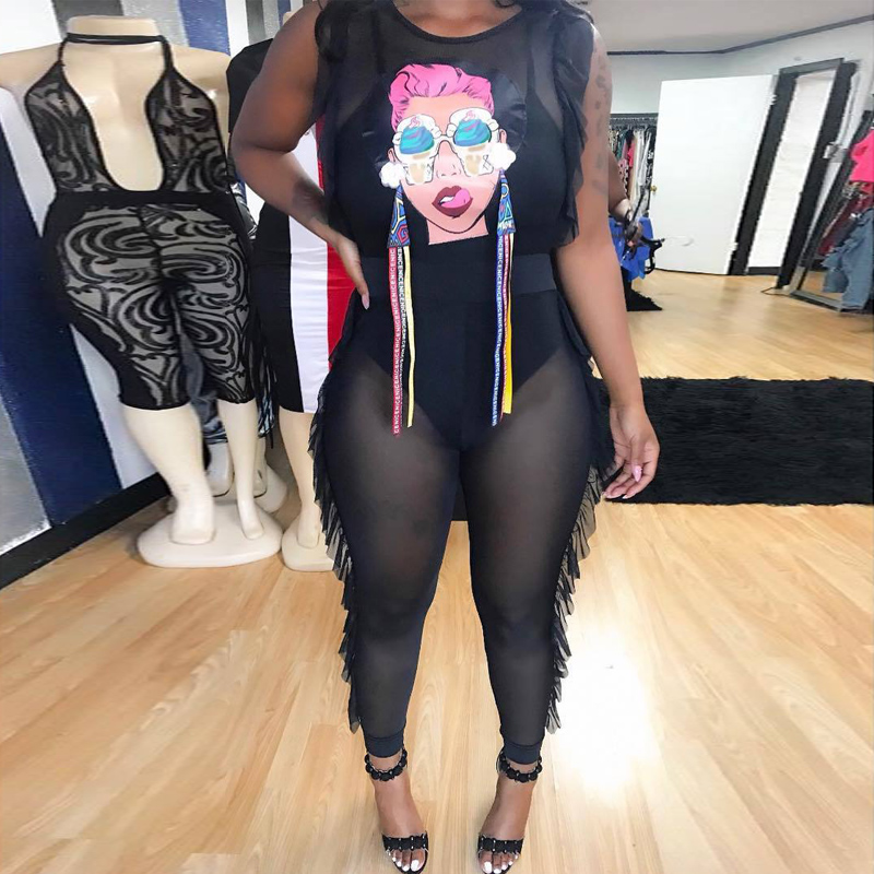 Sexy WOMEN Mesh JUMPSUIT ROMPERS Transparent See Through One Piece Outfit Nightclub Ruffle Side Overalls Sheer Plus Size 2XL JUM