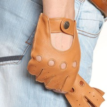 free shipping genuine leather gloves for men  Luxury deerskin male mitten driving fingerless EM001W-2