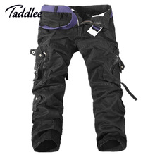 Taddlee Brand Europe Mens Fashion Multi Pocket Cargo Pants Khaki Military Casual Cotton Loose Baggy Man