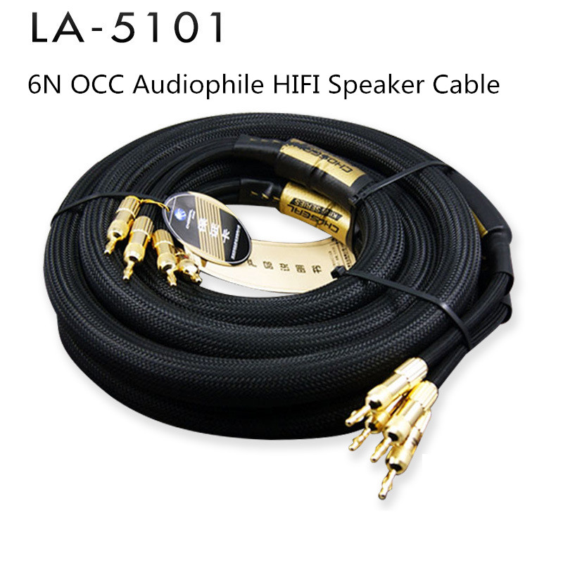Choseal 6N OCC Audiophile HIFI Speaker Cable 24K Gold-plated Banana Plug Top Level Speaker Cable 25MMx2.5M LA-5101 Y