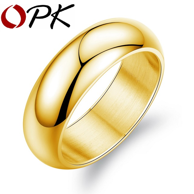 OPK GoldSilver Color Man Party Ring Classical Stainless Full Steel