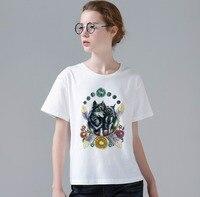 ילדים של הירח חולצה הדפסת האופנה וולף קעקועים עיצוב מגניב שרוול קצר חולצת טי נשים חולצות מזדמנים חמודה W829
